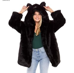 Fur coat with ears